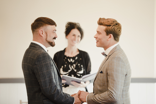 civil wedding celebrant hosting a wedding ceremony for a male gay couple
